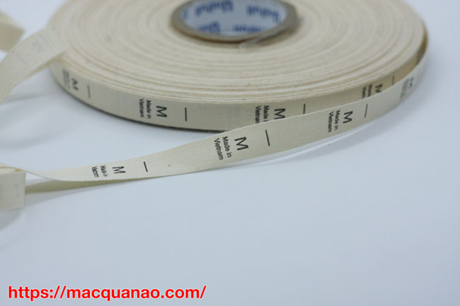 Nhãn size in cotton tại công ty in kimphatlabel